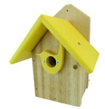 Post Mount Cedar Wren House w Yellow Poly Roof & Birdhouse Predator Guard Portal