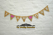 I AM ONE First Birthday Banner Kids Party Burlap Bunting Pink Crown Princess