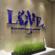 3D Wall Stickers Quote Mirror Love Modern City Flower Decal Home Art Decor Blue