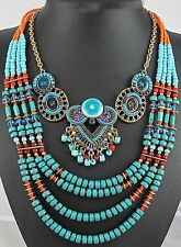 Wholesale pentand Crystal Bib Statement charm chunky Green collar long Necklace