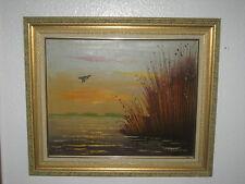 "VINTAGE ORIGINALE pittura ad olio su tela"" Uccello"" firmato, dal sig. F. WALKER - 1950"