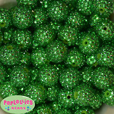 20mm Christmas Green Rhinestone Bubblegum Beads 20 Gumball Chunky