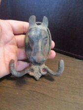 Vintage Cast Iron Horse Head Double Hook - Tack Holder - Figurine