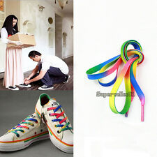 Hot 2 Pairs Women Men Rainbow Multi-Colors Flat Shoelaces Strings for Sneakers