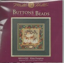 White Pumpkins Mill Hill Cross Stitch Kit with Button & Beads