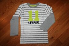 NWT Gymboree Star Brights Size 5T Gray Striped Champions 11 Shirt Top