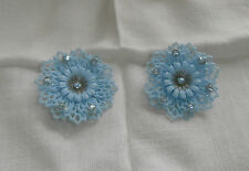 Vintage Signed Coro Soft Plastic Blue Flower Blue Rhinestone Earrings