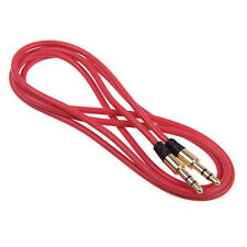 3.5mm Jack Male to Male Audio AUX Connection Flat Cable for PC iPhone iPod Red 1