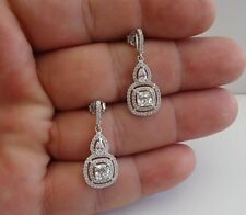 925 STERLING SILVER CLEAR TEARDROP SQUARE DANGLING EARRINGS W/ 4 CT LAB DIAMOND