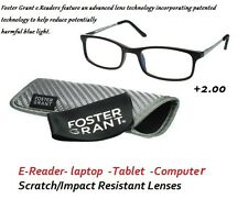 Foster Grant Scratch Resistant E-Reader laptop  Computer Reading Glasses +2.00