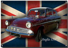 FORD ANGLIA 1200 METAL SIGN.VINTAGE BRITISH BUILT COMPACT FAMILY CARS.
