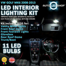 VW GOLF MK6 2009 - 2014 WHITE LED INTERIOR LIGHT SET KIT BULBS XENON SMD