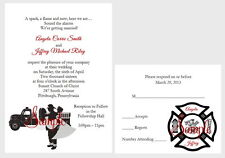 50 Personalized Custom Firefighter Couple Fireman Truck Wedding Invitations Set