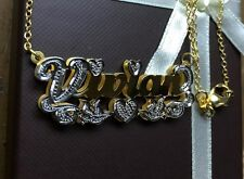 NAME PLATE STERLING SILVER PERSONALIZED CHOOSE NECKLACE 24K PLATED(Bird Tail)