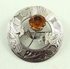 Vintage Sterling Silver Scottish Thistle Brooch or Pin With Amber Coloured Stone