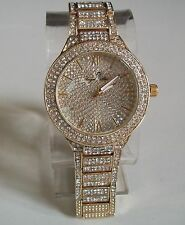 Designer Style hip hop CZ Bling clubbing Gold finish ANGEL STAR fashion  watch