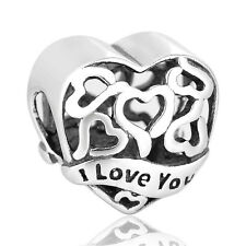 """Cutout silver bead Engraved with 'I Love You' """"My wife"""" Love heart. GIFT PACKING"""