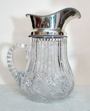 VINTAGE WILLCOX CONNECTICUT STERLING SILVER & BRILLIANT CUT GLASS WATER PITCHER