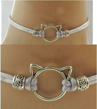 Silver Cat Ears Connector Choker Necklace Handmade Adjustable new Accessories
