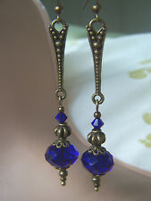 VINTAGE STYLE DANGLE DROP EARRINGS Cobalt Sapphire Royal Blue Deco nouveau