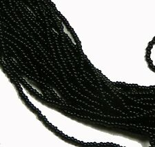Black Opaque Czech 8/0 Glass Seed Beads  12 Strand Hank Preciosa