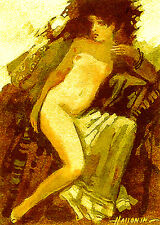 ACEO Female Nude / LE Print of Original Painting by Sergej Hahonin