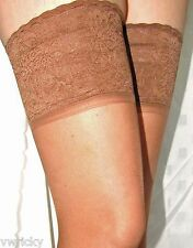 BRONZE  LACE TOP Super Shine HOLDUP STOCKINGS Size MEDIUM Glossy appearance NEW