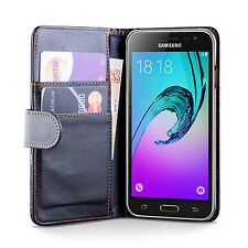 iDefend Samsung Galaxy J3 PU Leather Black Wallet Case Cover + Screen Protector