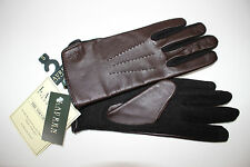 NWT RALPH LAUREN Women's Black Wool w/Brown Leather TECH Knit Gloves Size Small