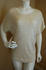 HAUTE HIPPIE Knit Silk/Cashmere Sequin Batwing Short Sleeve Top~Size S