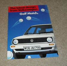 Volkswagen VW Golf Mk2 Match Brochure 1985