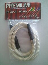 4' WHITE Hookah Hose  Wooden Handle  NEW  48""