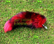 Funny Love Real Wine Red Fox Tail Butt Anal Plug Sexy Romance Insert Adult Tool