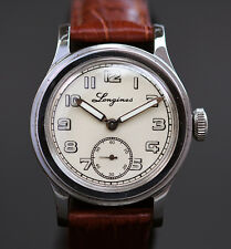 1943 Vintage LONGINES 10L 17J WW2 MILITARY STYLE SWISS WATCH MIDSIZE MEN ST/STE