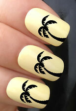 NAIL ART SET #355. x24 CARIBBEAN BEACH PALM TREE WATER TRANSFER DECALS STICKERS