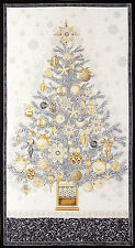 Christmas Fabric - Holiday Tree Silver Winters Grandeur RK #15186-Winter - Panel
