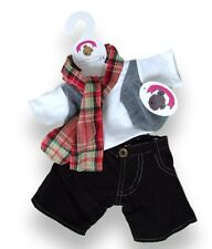 Teddy Bear Clothes fit Build a Bear Teddies Top Check Scarf Black Jeans Clothing