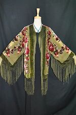 Art to Olive Green Flower Silk Burnout Velvet Fringe Kimono Opera Coat Duster