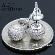 MEN WOMEN 925 STERLING SILVER 7MM ICED ROUND BALL SCREW BACK STUD EARRING*AE49