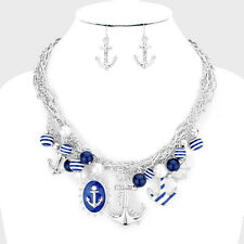 "Anchor Necklace Multi Layer Twisted Chains 2""Pendant Charms SILVER BLUE Jewelry"