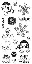 Fiskars Rubber Stamps - Winter Wishes - Snowflakes, Snowman, Penguins