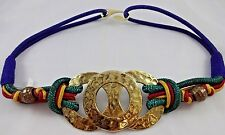 Vintage 80s Ornate Stretchy Womens Belt Knots Brass Rings Beads Blue Green Red