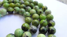10mm Round Natural Green Turquoise Semi Precious Gemstone Beads - Half Strand