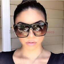 POLARIZED LENS Womens BLACK Flat Top OverSized Sunglasses Designer large big