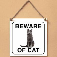 Russian Blue Beware of cat Targa gatto cartello ceramic tiles