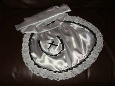 MAIDS/SISSY/ADULT BABY/FETISH SATIN APRON WITH POCKET, RIBBON & TRIPLE LACE TRIM