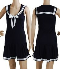 Navy Blue Retro Pin Up Vintage Sailor Nautical 50s Mod Mini dress Size S