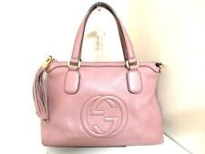 Authentic GUCCI Pink Beige Soho 308362 Leather Handbag