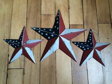 "(Set of 3) PATRIOTIC AMERICANA BARN STARS 8""/5.5"" PRIMITIVE RUSTIC DECOR"