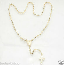 "18"" 3mm Technibond Rosary Chain Necklace 14K Yellow Gold Clad Sterling Silver"